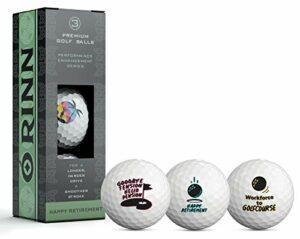 Lot de 3 balles de golf fantaisie pour départ en retraite – Cadeaux pour les golfeurs – Fournitures de fête et cadeaux de retraite