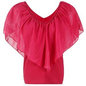 Mesdames Nouvel éTé Col en V Couleur Unie en Mousseline De Soie Manches Chauve-Souris Couture Haut T-Shirt Femmes