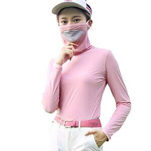 Mhwlai T-Shirt de Protection Contre Le Soleil de Golf Femme Manches Longues, vêtements de Protection Contre Le Soleil d'été Dames vêtements de Soie Glace Chemise,Rose,M