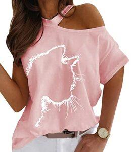ORANDESIGNE Tee-Shirt Femme Sexy Été Tops Imprimé Chat Manches Court Épaules Dénudées Chic Haut Blouse T-Shirt Grande Taille K Rose 3XL