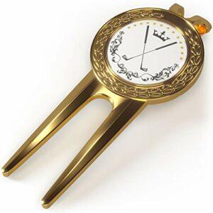 Pitchgabel Golf Divot Tool Marqueur de balle magnétique | Marqueur de balle de haute qualité | Marqueur magnétique amovible | Marqueur Too (or)