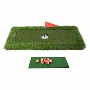 Sharplace Mettre La Pratique de Golf de l'eau Ensemble, Flottant Golf Putting Green Ensemble avec 8 Balles de Golf, avec Trou de Golf Tasse et Tapis et Drapeau