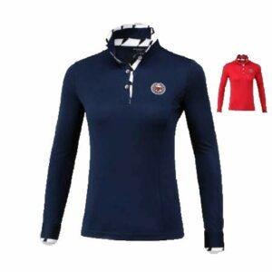 ShopPro PGM-YF090 T-shirt de golf à manches longues pour femme Respirant Absorption de l'humidité Taille S-XXL, bleu marine, S