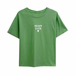Tee-Shirt Femme d'été Imprimer Lettre Casual O-cou À Manches Courtes Mignon Tops T-shirt couleur bonbon Chic Debardeur Blouse Top Décontractée Col Rond
