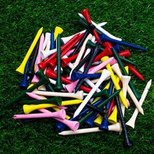THIODOON Tees de Golf en Bois Couleur Mélangée Paquet de 100 Accessoires pour L'Entraînement pour Le Golf pour Le Sport Femmes Hommes Enfants 54mm 70mm 83mm