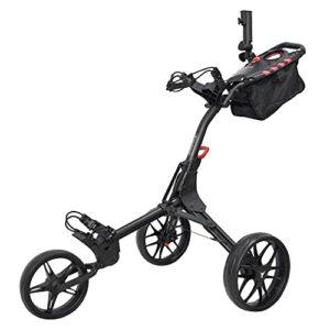 vilineke Chariot de golf compact à trois roues avec sac de rangement et porte-parapluie (noir)