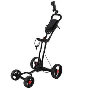 WAQU Chariot de Golf – Chariot de Golf Portable Porte-Sac à balles de Golf Pliant à 4 Roues Chariot de Marche Noir