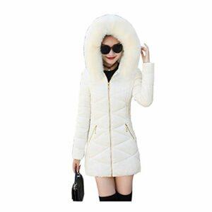 Yanhuigang Coupe-Vent et WATERPROO Gardez Veste WARMDOWN Col de Fourrure à Capuchon d'hiver Manteau Blouson Chaud Femmes Wadded Parkas Outwear (Color : Beige, Size : M)