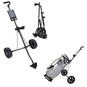 Yuanyan Chariot de golf pliable compact avec 2 roues amovibles Petit chariot léger avec porte-gobelet et chariot pivotant en acier pour amateurs de golf