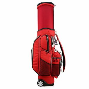 YUNLILI Multifonction Sac de Golf Sac de Golf Ultralight Cart de Golf avec Roues Sac de Transport Golf rétractable pour Voyager Organisateur de Grande capacité (Color : Red, Size : 44x30x125cm)