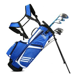 YYC Golf Club Stand avec Trépied et Poignée,Sac de Golf de Voyage pour Enfants Unisexe avec Diviseur 3 Compartiments,Sac de Club de Golf Portable Léger pour 7~9 Clubs de Golf(Bleu, Rose)