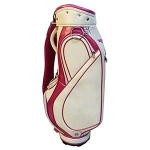 YYC Sac de Golf en Cuir PU, Sac de Golf de Voyage Imperméable pour Femmes avec Diviseur 5 Compartiments,Carry Trolley Bag Léger pour Entraînement de Golf(Blanche)