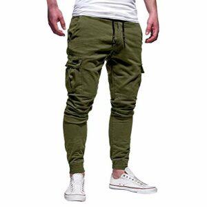 AmyGline ❤Hommes à La Mode Pantalon De Sport Multi-Poches DéContracté avec Bandage De Couleur Unie Occasionnels LâChe De SurvêTement Pantalon Pas Cher Pantalon