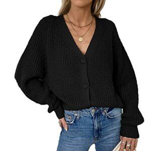 Automne Et Hiver Nouveau Pull Femme Cardigan Couleur Unie Col en V Lanterne Manches Bouton Cardigan Tricoté