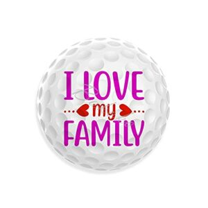 Balles de golf fantaisie « I Love My Family » – Design unique – Cadeau décontracté pour papa, maman, grands-parents – Joli cadeau pour l'entraînement au golfeur