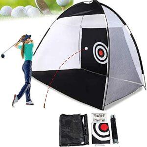 Beyond Dreams Filet d'entraînement de golf – Filet de golf pour l'extérieur et l'intérieur – Pour l'intérieur – 300 cm x 240 cm x 200 cm – Pliable avec sac de transport – Filet d'entraînement