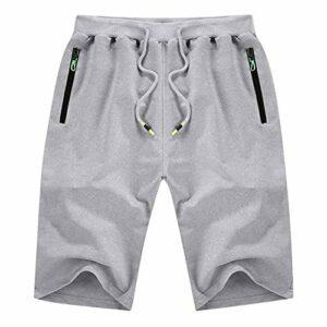 BUZHIDAO Short de sport pour homme – Respirant et confortable – Short de jogging, de fitness, de course, gris, M