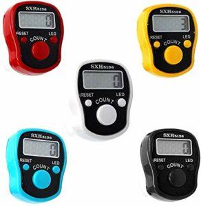 CG Tally Finger Counters Lot de 5 clickers à LED numérique avec compteur de doigts électronique numérique à affichage LED