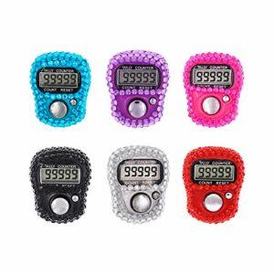 CG Tally Finger Counters Lot de 6 compteurs de doigts numériques à LED sur le bouton Lap Clicker Tasbih
