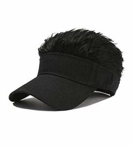 Chagoo Casquette de Pare-Soleil Flair Hair, Hommes Femmes Casquette de Baseball Faux Cheveux réglable Chapeaux de Golf drôles Black 1