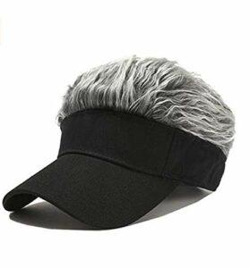 Chagoo Casquette de Pare-Soleil Flair Hair, Hommes Femmes Casquette de Baseball Faux Cheveux réglable Chapeaux de Golf drôles Black 2