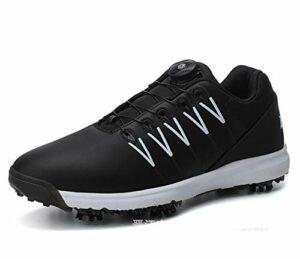 Chaussures de Golf à Crampons Imperméables pour Hommes avec Système de Dentelle