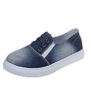 Chaussures de Toile Plates en Tissu de Cow-Boy Respirant Unisexe d'été à Lacets,Sandales décontractées à Bout Rond Lazy Asakuchi,Chaussures de Pont Vamper irrégulières de Couleur Unie, Milieu Entier