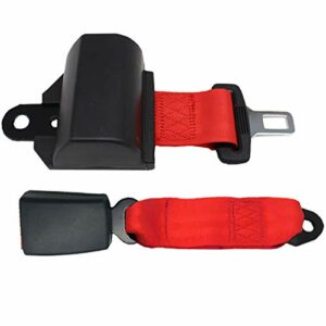 Ckssyao 47″ Universal rétractable Voiturette Seat Belt Kit, 2 Points Siège Ceinture de sécurité Kit de Suspension pour Go Kart Club de Golf, Garder à l'intérieur du Panier