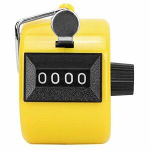 Compteur de pointage manuel, 7 couleurs Compteur de pointage manuel Compteurs de pointage à 4 chiffres Bouton en plastique Réinitialiser le compteur de paume mécanique Compteur de clics(jaune)