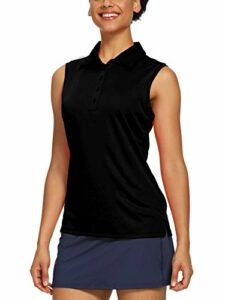 CQC Polo sans manches pour femme à séchage rapide UPF 50+ – Noir – Taille S