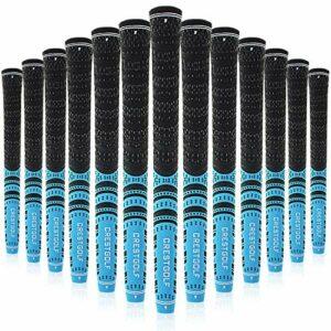 Crestgolf Lot de 13 poignées de golf multicomposées pour clubs de golf antidérapantes et écologiques, taille moyenne ou standard, bleu, Midsize