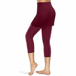 duquanxinquan Legging de fitness pour femme – Legging avec jupe – Pantalon de yoga court – Pantalon de sport – Taille haute avec poches – Pour golf, tennis, golf, golf, tennis, etc.