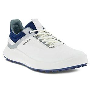 ECCO Golf Core Chaussures de golf pour homme Hydromax Water-Repellent, Blanc/argenté/bleu métallisé, 42 EU