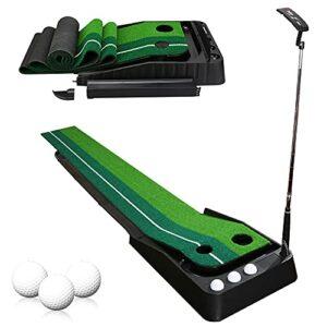 EINFEBEN Tapis de golf – Pour l'intérieur et le bureau – En extérieur – Pour le golf – Avec fonction de retour automatique – Putter de golf – 3 balles de golf