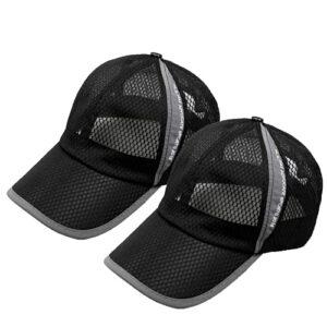 FADA Chapeau en maille à séchage rapide pour l'été Protection solaire Pêche Camping Golf Trucker – Noir – Taille Unique