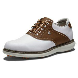 Footjoy Traditions, Chaussure de Golf Homme, Blanco/Tan, 43 EU