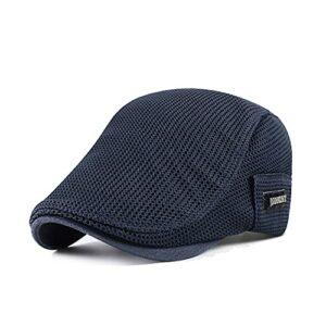 GATTORO Casquette plate en maille pour homme – Réglable et respirante – Chapeau de golf irlandais, bleu, Taille unique