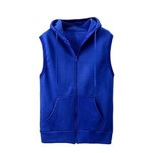 Gilet à capuche pour homme – Couleur unie – Sans manches – Avec capuche – Pour le sport, les loisirs – Pour homme, bleu, XL