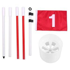 Golf Flagsticks Drapeaux Pin Portable Trou Pole Coupe Pratique Set Mettre Rouge Flagstick Standard Avec Terrain De Golf Drapeau De Golf Pin 5 Drapeaux Divisible Section Design for Backyard Garden Red