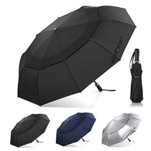 Gonex Parapluie de Golf Pliable 54 Pouces avec 10 Nervures, Grand Parapluie Coupe-Vent et Double Auvent, Parapluie Compact, Aéré et Imperméable pour Sport, Affaires et Voyages, Noir