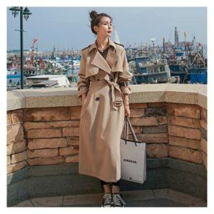 GYZX Angleterre style femme trench-manteau longue à double boutonnage avec ceinture femme ornerie printemps automne dame vêtements lâche surdimensionnement (Color : Brown, Size : L)