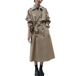 GYZX Automne Femmes Trench-Coat avec Ceinture Femmes vêtements Bleus Manteau Bleu (Color : Brown, Size : S)