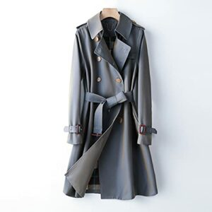 GYZX Automne Mode Femmes Trench-Coat avec Ceinture Turn Down Collier Femmes Trench Trenchwear Streetwear (Color : Blue, Size : S)