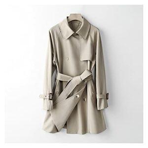 GYZX Automne Mode Femmes Trench-Patte avec Ceinture Drouble Button Femme Trench Fashion Trenchwear (Color : C, Size : S)