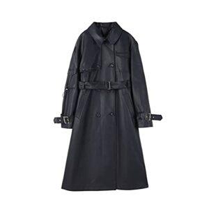 GYZX Style européen élégant long PU Trench-coat en cuir femme à double boutonnage avec ceinture printemps automne dame (Color : Blue, Size : L)