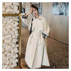 GYZX Trench d'un long trench-trench-à-bout des femmes à double boutonnage pour femmes manteau à rayures coupe-vent dame de vêtements d'extérieur (Color : White, Size : S)