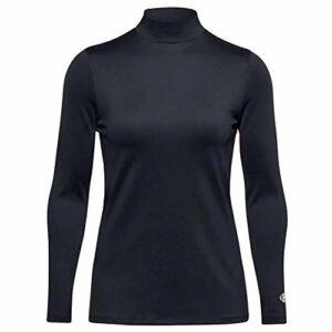 Island Green T-Shirt de Golf Thermique à Manches Longues pour Femme, Femme, Chemise de Golf, IGLBASE2000_BLK_L, Noir, L