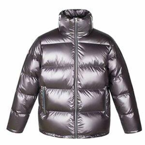 JJZXD Doudoune homme hiver Streetwear métallisé Doudoune à col montant, conception de couleur unie (Color : A, Size : Medium)