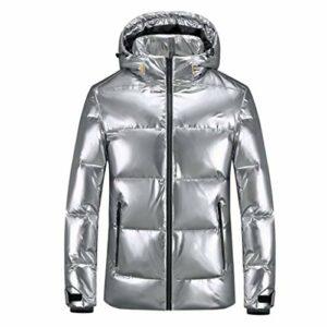 JJZXD Manteau en duvet de canard blanc d'hiver pour homme, chapeau détachable, manteau à glissière imperméable chaud convertible, doudoune lumineuse (Color : A, Size : XXX-Large)