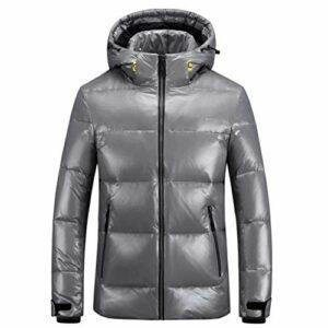 JJZXD Manteau en duvet de canard blanc d'hiver pour homme, chapeau détachable, manteau à glissière imperméable chaud convertible, doudoune lumineuse (Color : B, Size : Medium)